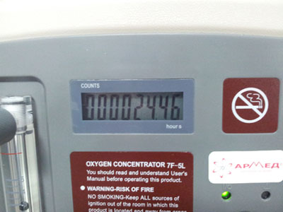 Время наработки концентратора кислорода